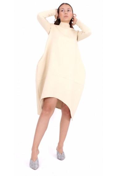 Rochie de zi midi Novak Couture forma A din poliester, Crem