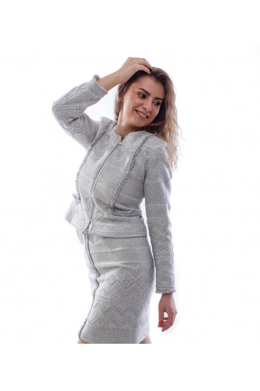 Costum Novak Couture Tweed Boucle Gri