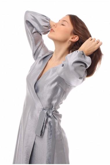 Rochie de zi lunga Novak Couture petrecuta din poliester, Argintiu
