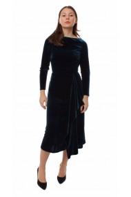 Rochie de seara midi Novak Couture forma A din catifea, Turcoaz