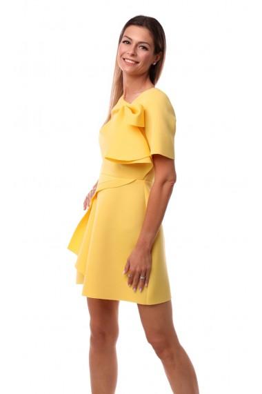 Rochie de zi scurta Novak Couture forma A din poliester, Galben
