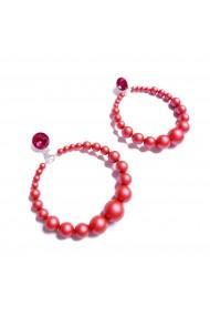 Cercei rotunzi cu perle vivid handmade