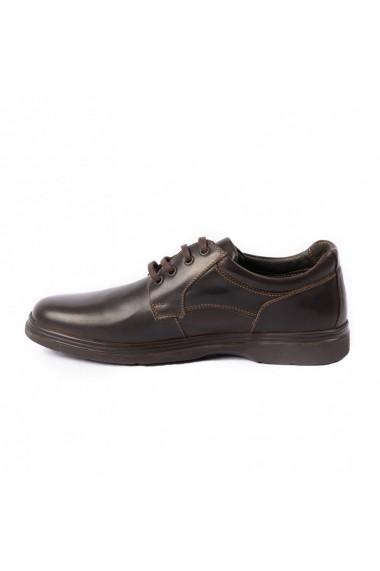 Pantofi barbati casual din piele naturala cod 480 maro inchis
