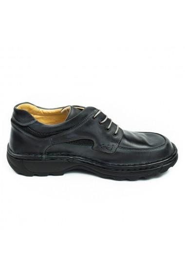 Pantofi barbati casual din piele naturala gri inchis cod 345