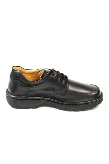 Pantofi barbati casual din piele naturala negru cod 345
