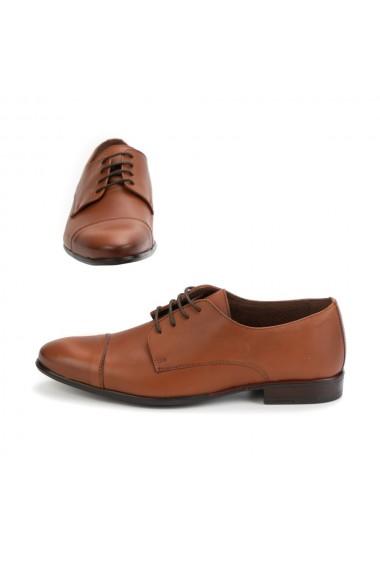Pantofi barbati elegant din piele naturala maro coniac cod 315