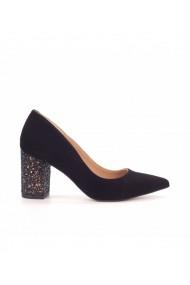 Pantofi dama din piele intoarsa toc glitter 1714