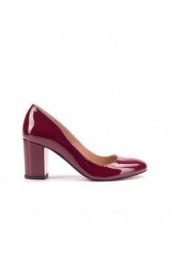 Pantofi dama din piele naturala lac bordo 1704