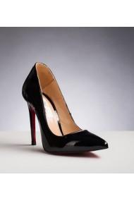 Pantofi dama din piele naturala stiletto 1717 negru lac