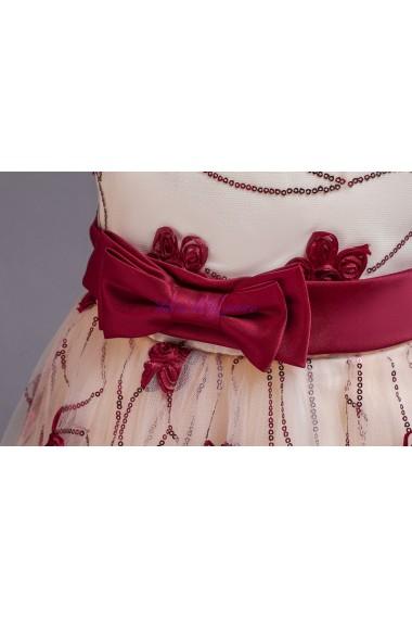 Rochita Gabriela 3-12 ani lunga cu paiete rosie