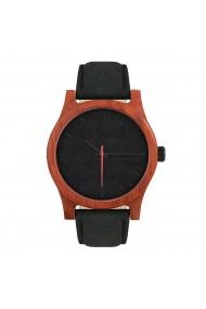 Ceas din lemn Neat - Classic - 43mm, Negru cu detaliu rosu - lemn de Padouk