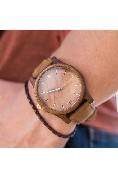 Ceas din lemn Neat - Classic - 43mm, Maro cu detalii aurii - lemn de Amazaque