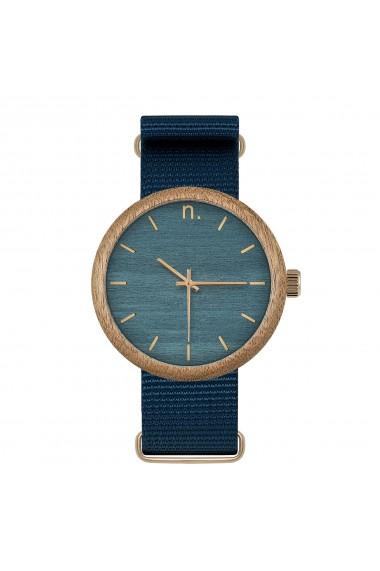 Ceas din lemn Neat - New Hoop - 43mm, Albastru cu detalii aurii - lemn de Sapele