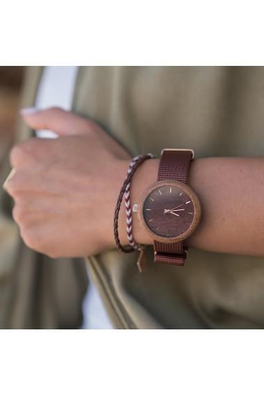 Ceas de dama din lemn Neat - New Hoop - 38mm, Maro cu detalii aurii - lemn de Sapele