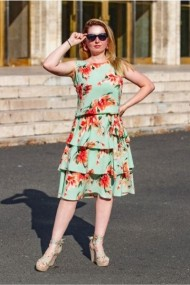 Rochie Pauletta cu volane mint cu imprimeu floral
