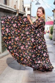 Rochie Pauletta Maxi neagra Flowers