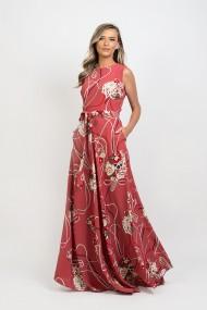 Rochie Pauletta Sara lunga cu buzunare si imprimeu floral