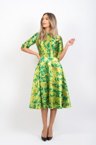 Rochie Pauletta Roxy din brocart pe verde galben