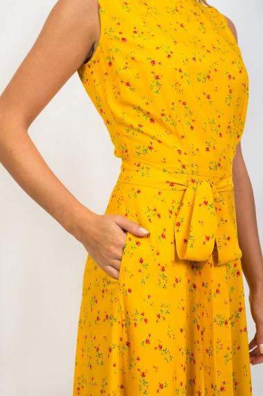 Rochie Pauletta galbena Miliana lunga cu buzunare si imprimeu floral