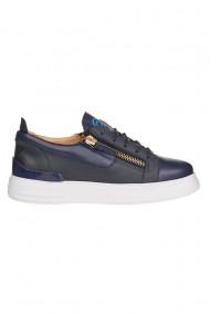 Pantofi sport barbati Premier Collezione piele naturala bleumarin