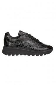 Pantofi sport barbati Premier Collezione piele naturala lacuita negru