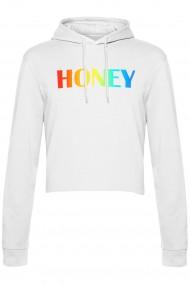 Hanorac Dama Honey Rainbow PARUNIV Cropped Alb