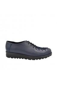 Pantofi dama cu siret din piele naturala Bleumarin
