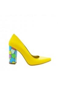 Pantofi dama stiletto toc gros multicolor  Galbeni