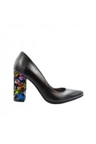 Pantofi dama stiletto toc gros multicolor  Negri