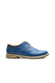 Pantofi dama cu siret din piele naturala Bleu