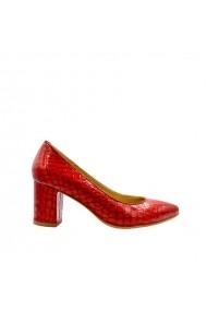 Pantofi dama cu toc gros Croco Rosu