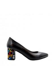 Pantofi dama Rico cu toc gros multicolor Negri