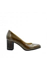 Pantofi dama cu varf rotund  Kaki