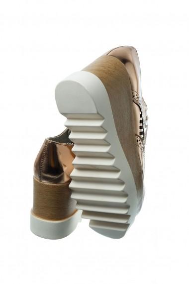Pantofi Rammi bronz auriu din piele ecologica premium