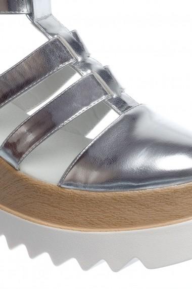 sandale Rammi argintiu deschis de piele ecologica premium