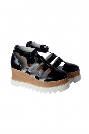 Sandale cu platforma Rammi RMM-259black Negru