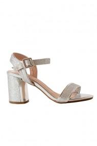 Sandale argintii cu toc masiv