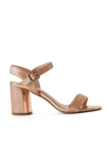 Sandale bronz sampanie cu toc masiv