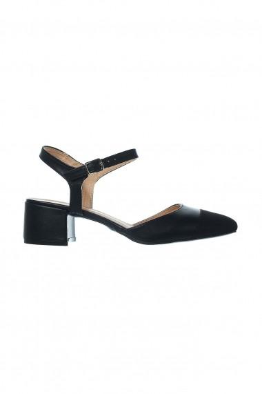 Pantofi Rammi negri slingback de piele ecologica intoarsa