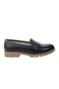 Pantofi bleumarin cu brant de piele