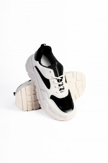Pantofi Rammi sport bej cu insertii de fas negre