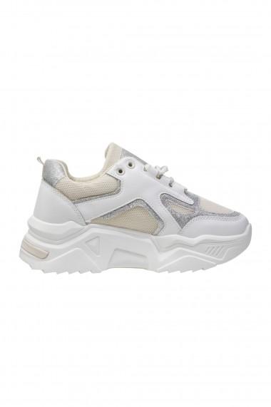 Pantofi sport bej cu insertii argintii