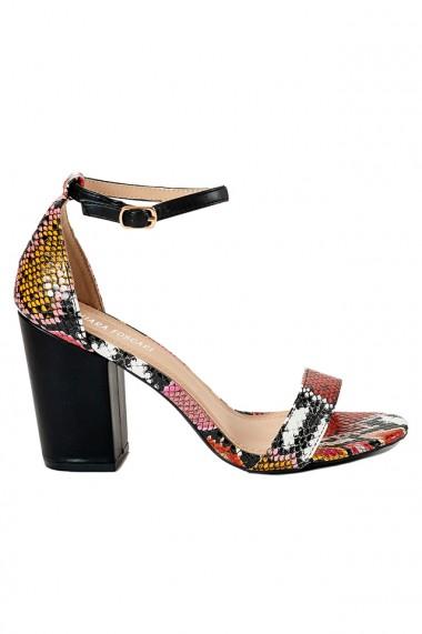 Sandale negre cu insertii reptila