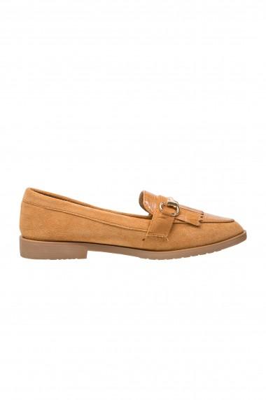 Pantofi loafer de piele intoarsa cu aplicatie metalica