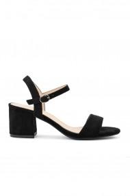 sandale Rammi negre cu toc masiv si bareta fina