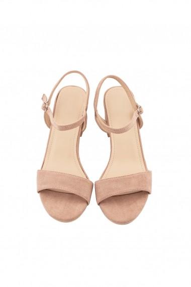 sandale Rammi roz prafuit cu toc masiv