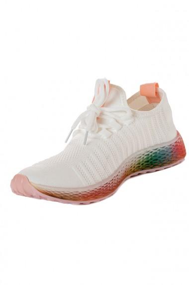 Pantofi sport albi cu talpa colorata
