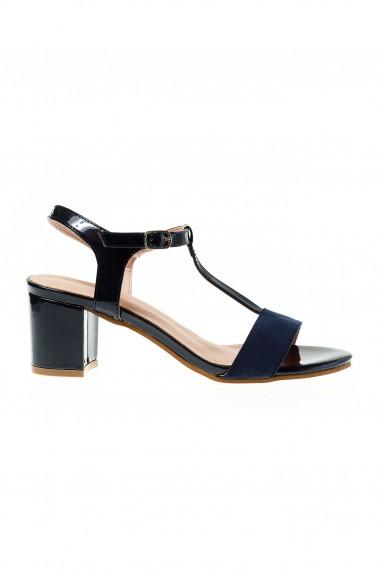 sandale bleumarin , cu toc masiv