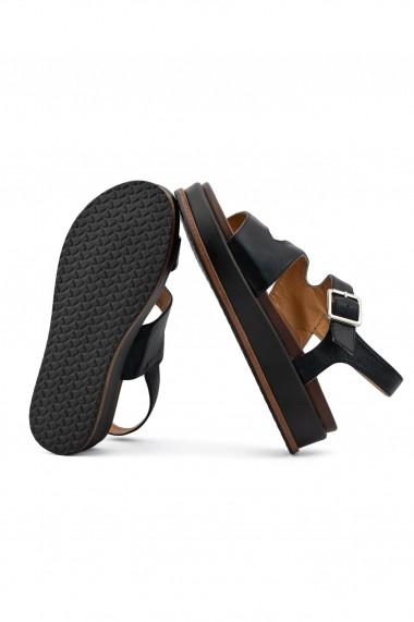 sandale Rammi negre cu talpa wedge