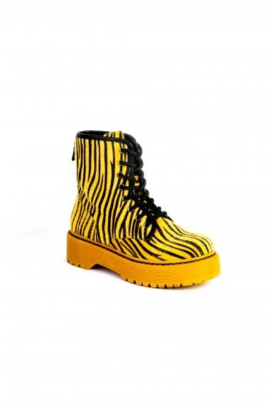 Ghete Rammi galbene cu platforma si imprimeu zebra